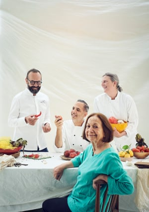 Food writer Claudia Roden with chefs José Pizarro, Yotam Ottolenghi and Sam Clark, photographed for an interview in OFM.