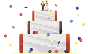 Illustration of couple standing on layered wedding cake composed of smartphones