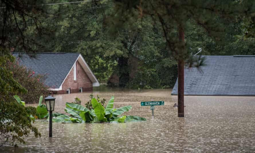 Homes inundated by flood waters in Columbia, South Carolina.