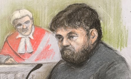 Court artist sketch of Carl Beech giving evidence at Newcastle crown court on 3 July 2019.