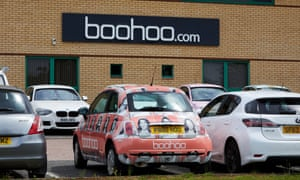 Boohoo's offices in Leicester with Boohoo branded car.