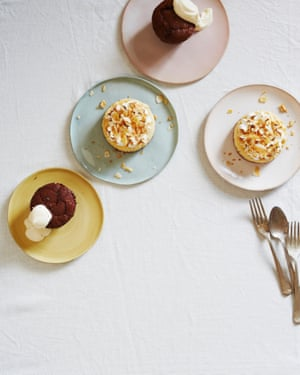 Yotam Ottolenghi's hot chocolate and lime puddings and lime meringue cheesecakes.