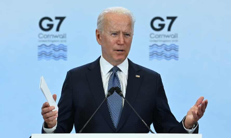 Joe Biden takes part in a press conference on the final day of the G7 summit near Newquay, Cornwall.