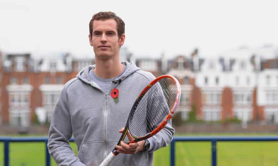 Andy Murray handles a graphene reinforced tennis racket.
