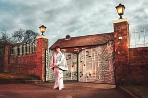 Elvis G, 2017. Geoff stands outside a private home in South Cave which the owner has transformed into a Graceland replica