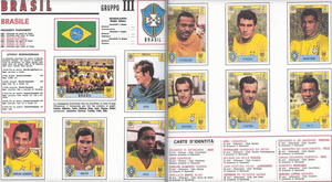 Brazil, the 1970 World Cup winners, as they appeared in the Panini sticker album.