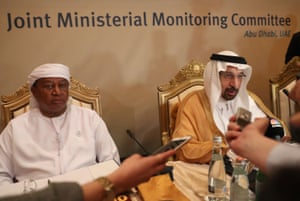 Energy Minister Saudi Khalid al-Falih (R) and OPS General Secretary, Mohammed Barkindo, spoke to journalists during a meeting of the Joint Monitoring Committee in the Emirate capital of Abu Dhabi.