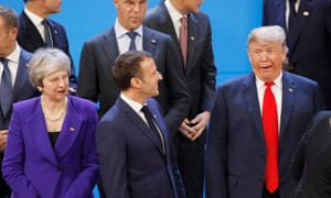Theresa May, French President Emmanuel Macron and Donald Trump during the G20 summit in Buenos Aires, Argentina November 30, 2018