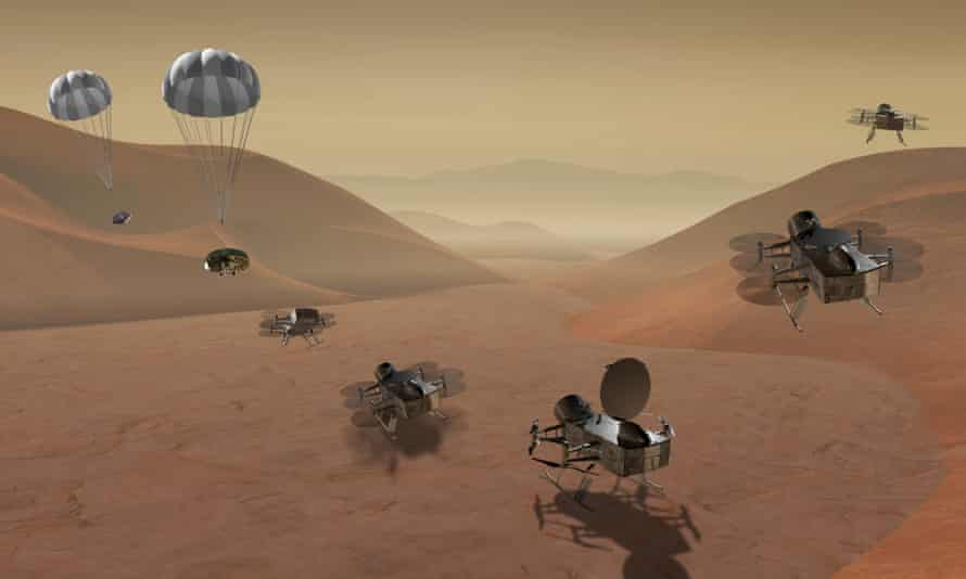 Artist's impression of the Dragonfly mission, which would be the first drone to explore another world – in this case, Saturn's moon Titan.