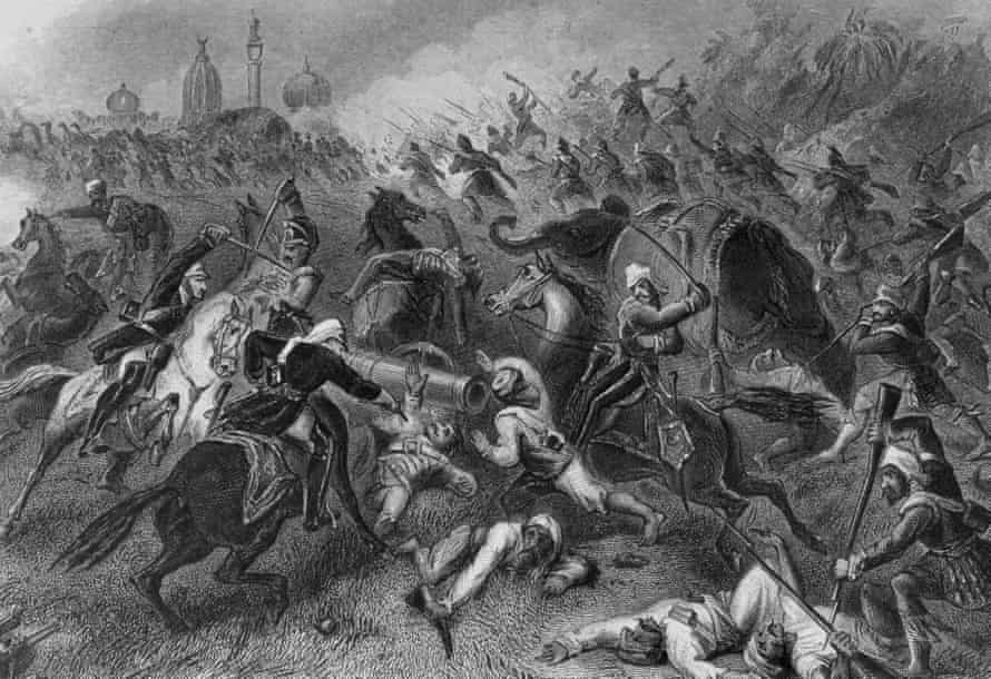 The battle at Cawnpore (Kanpur) where a British garrison was wiped out during the Indian 'mutiny' of 1857.