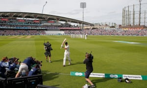 Applause rings round the Oval as Alastair Cook walks off after his dismissal.