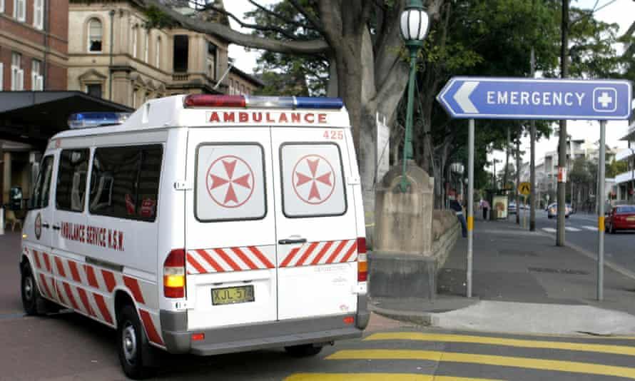 an ambulance enters royal prince alfred hospital