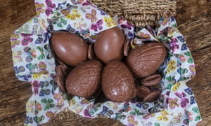 A bundle of chocolate Easter eggs