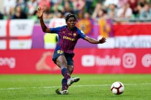 Asisat Oshoala pulls a goal back for Barcelona.