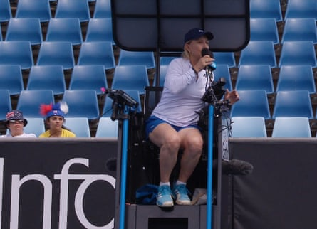 Martina Navratilova makes her protest from the umpire's chair.