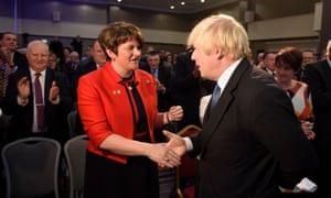 DUP leader Arlene Foster and Boris Johnson