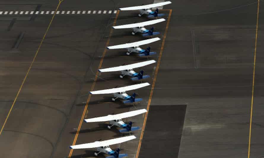 Light planes parked at Moorabbin airport