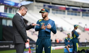 Former Australia Captain Michael Clarke chats with David Warner of Australia prior to the start of the warm up match between England and Australia.