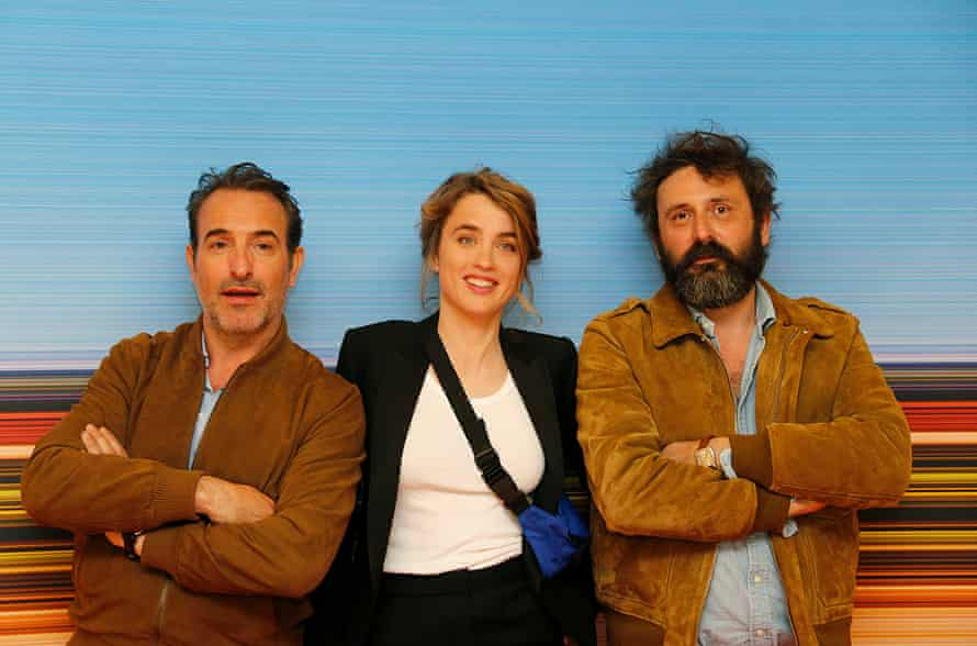 Jean Dujardin, Adèle Haenel and Quentin Dupieux at the 2019 Cannes screening of Deerskin.