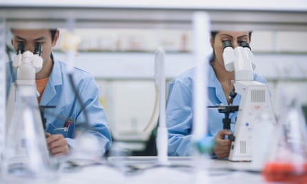 Scientists working in laboratory with microscopes