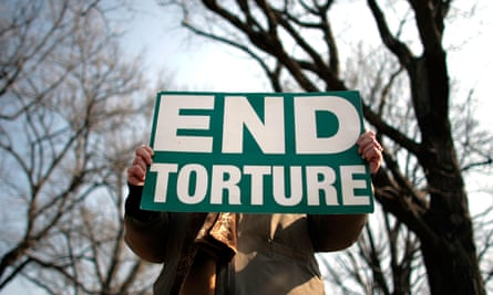 A protester takes part in a demonstration against torture on Capitol Hill in Washington in 2008.