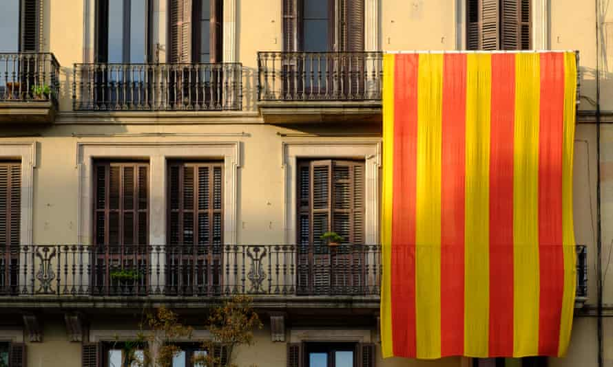 The Catalan flag hung from a balcony