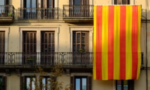 A flag in support of Catalan independence, Barcelona, 2017.
