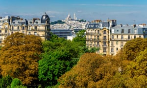View of Sacre-Coeur from Buttes-Chaumont Park in Paris