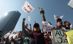 Protesters in Mexico City demonstrate against the rise of fuels prices on 7 January.