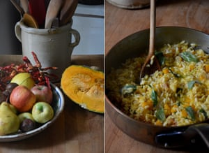 Rachel Roddy's rice with pumpkin, sage chestnuts and butter.