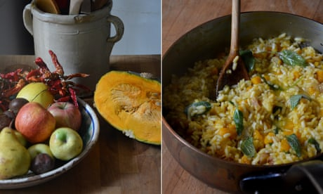 Rachel Roddy's recipe for rice with pumpkin, chestnuts, sage and butter