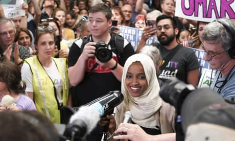 'Welcome home, Ilhan!': supporters greet Ilhan Omar as she arrives in home state – video