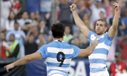 Martin Landajo (left) and Tomas Cubelli celebrate at the end of the match in Salta.
