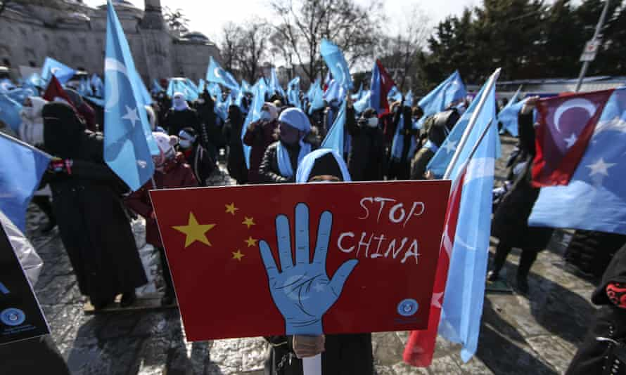 A member of Turkey's Uighur community during a protest in Istanbul over China's policies in Xinjiang.