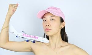 Qinmin Liu on a promotional image for artist-run airline Angelhaha