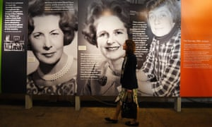 Voice & Vote: Women's Place in Parliament exhibition, with (from left) photographs of Barbara Castle, Margaret Thatcher and Shirley Williams.