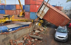 Chennai, India A shipping container lies in a street