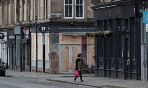 A boarded-up restaurant in Glasgow