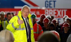 Boris Johnson speaks to workers as he visits Wilton Engineering Services in Middlesbrough