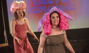 Bella Heesom (left) and Sara Alexander in Rejoicing at Her Wondrous Vulva the Young Woman Applauded Herself, at London's Ovalhouse theatre.