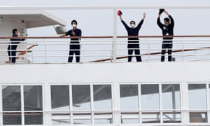 Stranded crew members on a cruise ship off the coast of Australia.