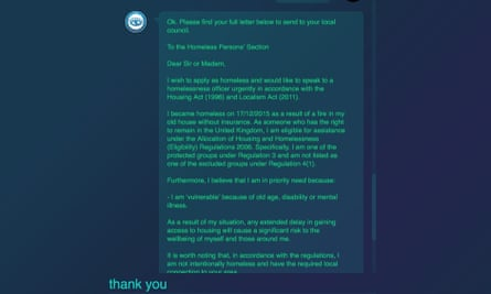 After asking a series of questions, the bot finds the best way to help someone - in this case, by drafting a letter to the council.