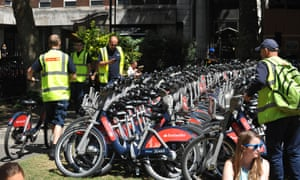 The dispersal of hundreds of Boris Bikes, abandoned earlier in central London, begins.
