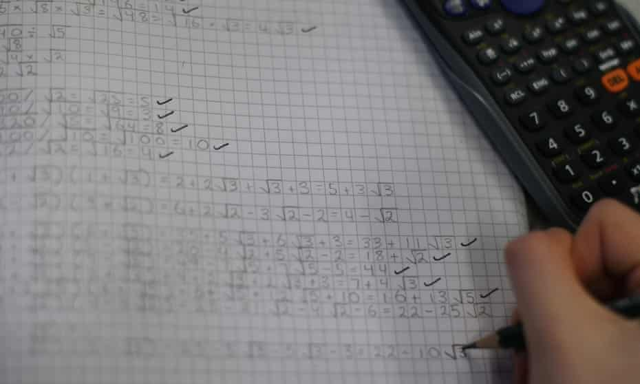 A student in a maths lesson
