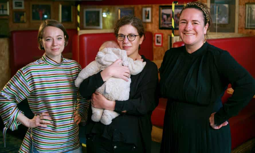 'Nobody warned me it was normal to feel as overwhelmed as I did' ... Morgan Lloyd Malcolm pictured with Francesca Moody (far left) and Abigail Graham (centre with her baby).