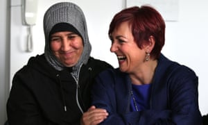 Scottish equalities secretary Angela Constance (right), and a Syrian refugee at The Welcoming project in Edinburgh.
