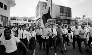Protesters march through Panama City on 9 January 1964 during riots over the sovereignty of the Canal Zone.