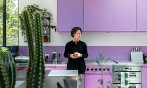 Della Burnside in her kitchen with purple units