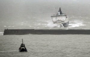 DFDS ferry, Calais Seaways, is buffeted by waves as it arrives during stormy weather at the Port of Dover in Kent