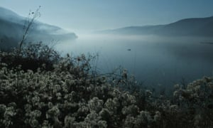 Mist on the Danube near Golubac, Serbia, on the border with Romania.